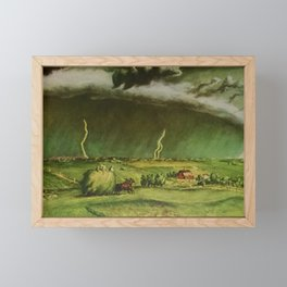 The Line Storm - Thunder and Lightning on the American Plains by John Steuart Curry Framed Mini Art Print