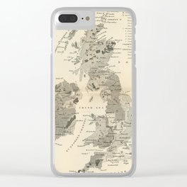 Vintage and Retro Geological Map British Isles Clear iPhone Case