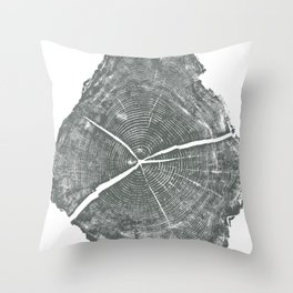 Locust Tree ring image, woodcut print Throw Pillow