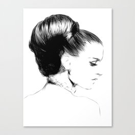 Woman Portrait Fashion Minimal Drawing Canvas Print