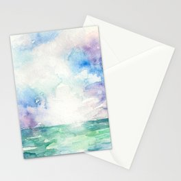 Colored Sky Watercolor Painting Stationery Cards