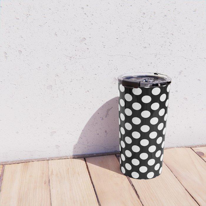 White Polka Dots with Black Background Travel Mug