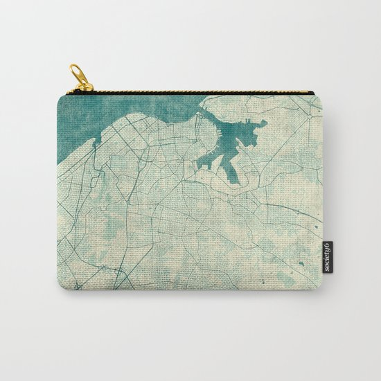 Havana Map Blue Vintage Carry-All Pouch