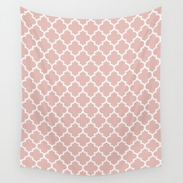 White Moroccan Quatrefoil On Rose Gold Pink Wall Tapestry