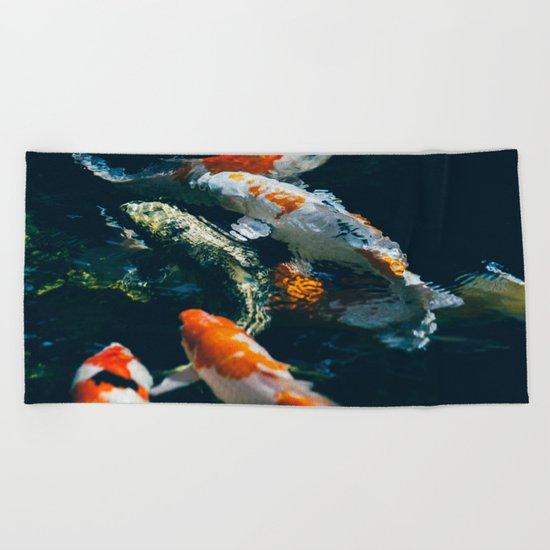 Koi Fish In Water Beach Towel