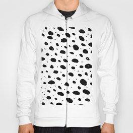 Black white hand painted watercolor polka dots  Hoody