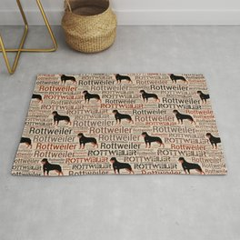 Rottweiler silhouette and word art pattern Rug