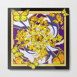 Modern Art Yellow Butterflies Purple Patterns Metal Print