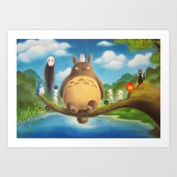 ghibli Art Prints featuring Ghibli Compilation  by KalaElizabeth
