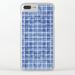 Blue Gingham Velvety Faux Terry Toweling Clear iPhone Case