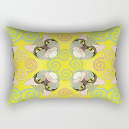 Yellow Spiral Cat Rectangular Pillow