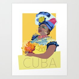 Cuban Lady With Flowers Art Print
