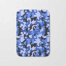 Blue and Black Water Pixel Camo pattern Bath Mat