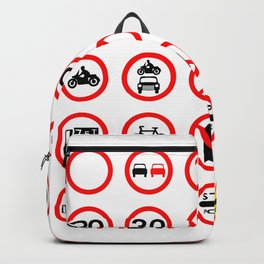 Road Signs - Red Round Backpack