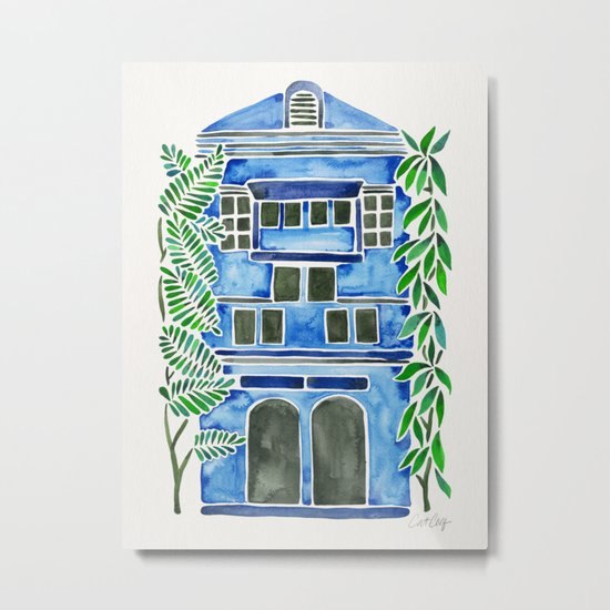 Tropical Blue House Metal Print