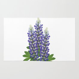 Blue and white lupine flowers Rug
