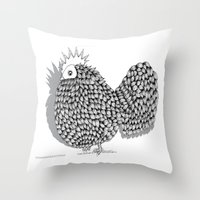 funky Throw Pillows featuring Zentangle  Illustration - Funky Chicken by Vermont Greetings