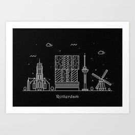 Rotterdam Minimal Nightscape / Skyline Drawing Art Print