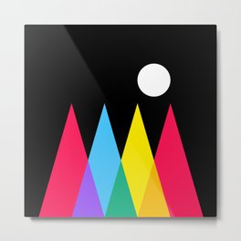 Full Moon on Colorful Forest Metal Print