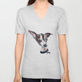 Mia the Italian Greyhound Dog Unisex V-Neck