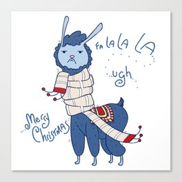 Unamused Llama Christmas Themed - Blue Canvas Print