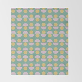 Scandinavian Geometric Pattern in Green, Lavender and Yellow Throw Blanket