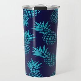 Pineapple Pattern - Teal on Navy Travel Mug