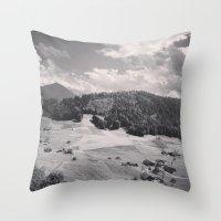 switzerland Throw Pillows featuring Switzerland BW by Heather Hartley