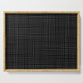 Black and White Grid - Disorderly Order Serving Tray