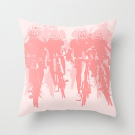 Cyclists in the sprint pink Throw Pillow
