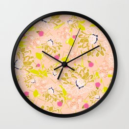 Energizing spring summer flowers Wall Clock