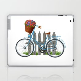 Vintage bicycle with basket full of violets flowers Laptop & iPad Skin