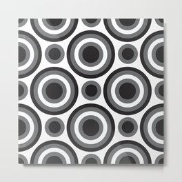 Circle Circle: Black, White + Grey Metal Print