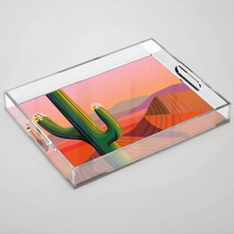 Flowering Saguaro Sonora Acrylic Tray