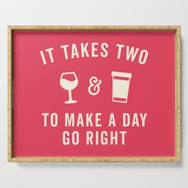 Wine & Coffee Funny Quote Serving Tray