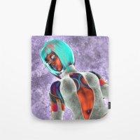 sci fi Tote Bags featuring Sci Fi Girl  by Brian Raggatt