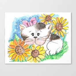 Marisol y los girasoles, the cat and the Sunflowers Canvas Print