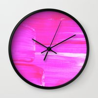 hot pink Wall Clocks featuring Hot PINK by HollyJonesEcu