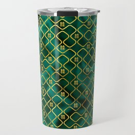 Gold Chinese Double Happiness Symbol pattern on malachite Travel Mug