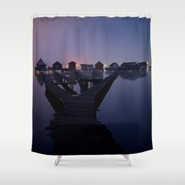 Houses on the lake Shower Curtain