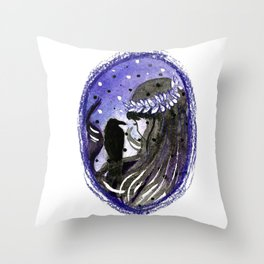 dark brunette witch with a crow Throw Pillow