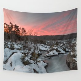 Great Falls Winter Twilight Wall Tapestry