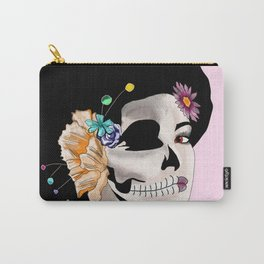 Sugar Skull Woman, Pink Background Carry-All Pouch
