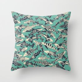 shark party jade Throw Pillow
