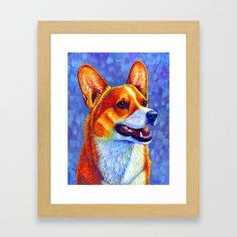 Colorful Pembroke Welsh Corgi Dog Framed Art Print