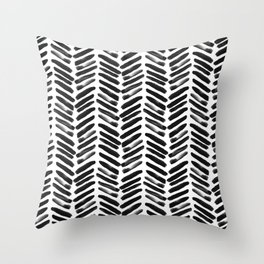 Simple black and white handrawn chevron - horizontal Throw Pillow
