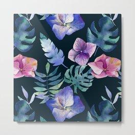 Hydrangea pattern Metal Print