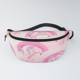 Cute Mythical Pink Unicorn Rainbow Watercolor Fanny Pack