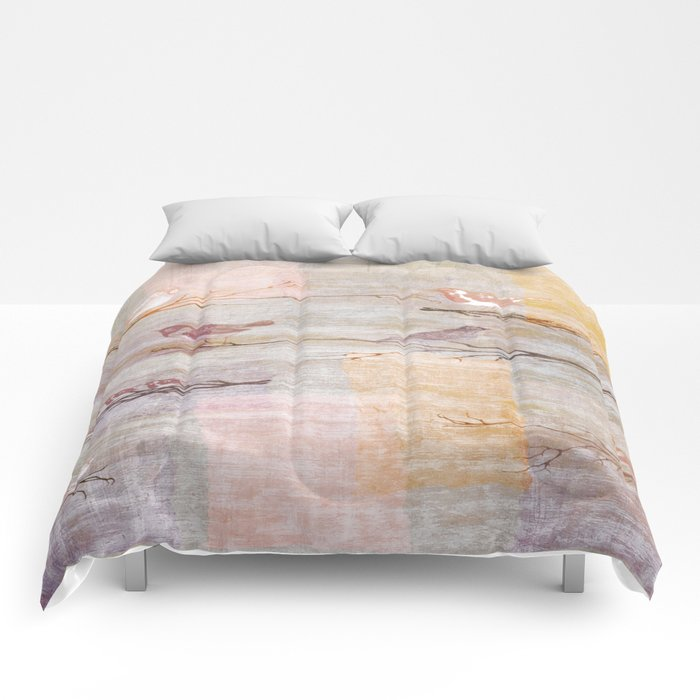 Golden Pink Birds Comforters