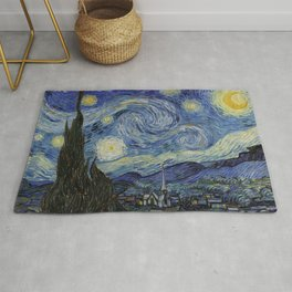 The Starry Night by Vincent van Gogh 1889 // Abstract Brush Stroke Detail Mountains Stars City Scene Rug